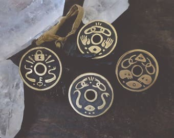 Snakes and Chains - etched brass shield pins