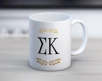 SK Sigma Kappa Letters Mug Sorority Coffee Mug