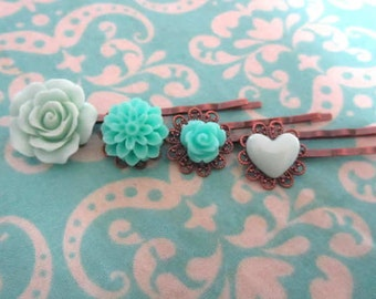 Mint flowers with holiday gift tag -Mintl heart, mint rose, big mint rose, mint dhalia bobby pin 4pcs chose your own