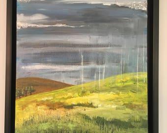 Waiting for the Rainbow - Origonal artwork, acrylic on canvas, framed.