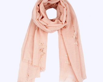 Personalized Light Pink Rose Gold Foil Print Scarf Women Evening Wraps Shawls Wedding Shawl Formal Evening Wrap Gift for Her UK Sellers Only