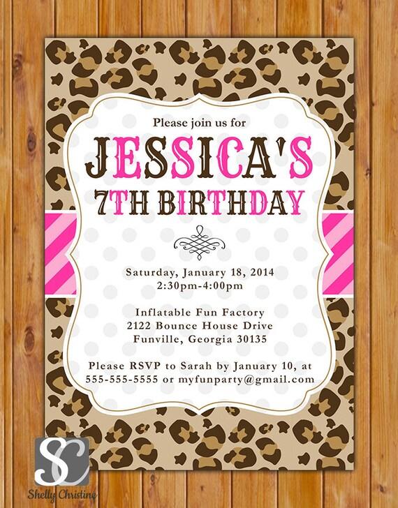 Leopard Print Birthday Party Invite Pink Stripes Polka Dots