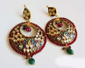 Kundan Chandbali  Earrings,Peacock jewellery,red Jhumkas,Gold Meenakari Jewelry Ethnic Indian Chandelier earrings by Taneesi