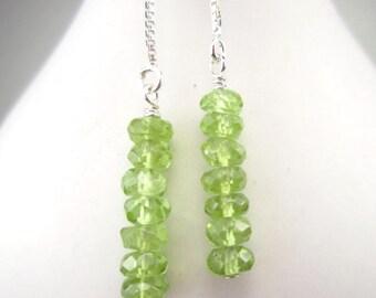 Long Green Threader Earrings Peridot Gemstone Sterling Silver Chain, August Birthstone