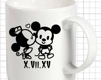 Mickey and Minnie Mouse Mug. Disney's Personalized Mug. Couple's Mug.