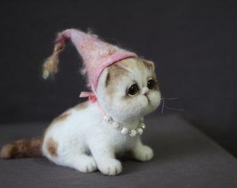 Needle Felted Exotic Shorthair Kitten - Soft Sculpture