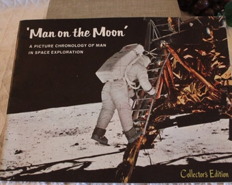1969 Man On The Moon - A Picture Chronology of Man in Space Exploration, Collector's Edition Paper Back Book