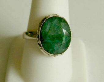 Unique Raw Emerald Sterling Silver Ring  s. 9.5