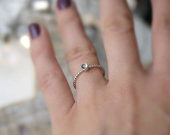Green Amethyst dainty sterling silver stacker ring