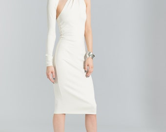 Formal Dress / Party Dress / Off White Dress / Prom Dress / Midi Dress / One Shoulder Dress / Pencil Dress / Marcellamoda - MD0003
