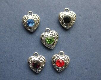 5 Rhinestone Heart Charms - Rhinestone Heart Pendants - Heart Charms - Antique Silver - Multi-Color - 12mm x 10mm -- (E8-10120)