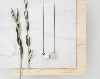 Aria Necklace | Geometric trio | Nude & White