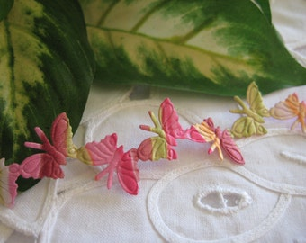 Butterfly Trim Pink, Olive Green, Yellow, Fuchsia Multi-Colors For Crafting, Scrapbooking, Sewing, Butterfly Themed, 4.25 yards