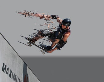 Skater. A conceptual fine art photograph of a man on a skateboard, coming off a ramp and going to pieces.