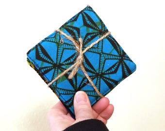 Set of 4 Kitenge Fabric Coasters, Uganda