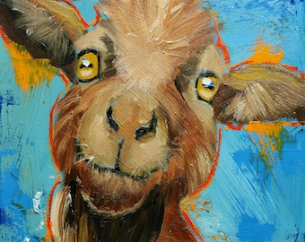 Goat portrait painting 36 12x12 inch original oil painting by Roz