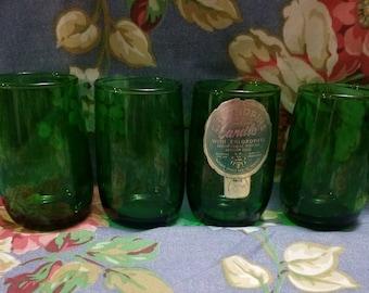 Vintage Lot of 4 Forest Green Juice Glasses or Votive Holders