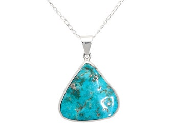 Turquoise Necklace, Sterling Silver, turquoise jewelry, December birthstone, silver turquoise, Turquoise pendant, boho, natural stone, raw