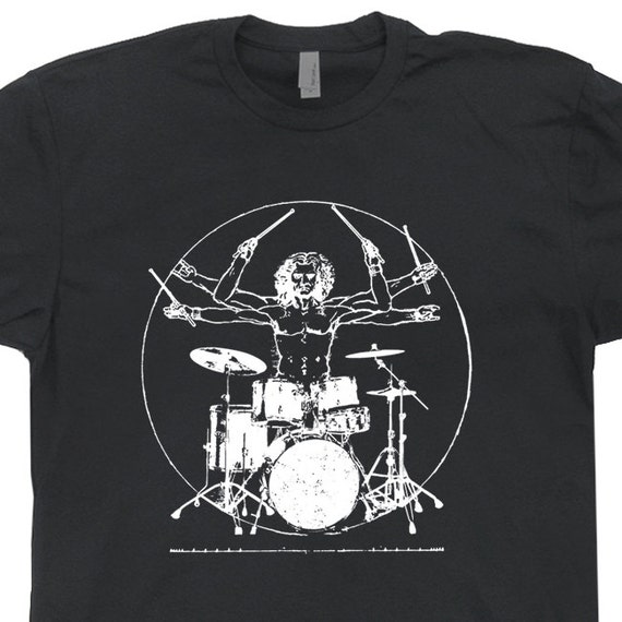 Drums T Shirts Da Vinci Drummer T Shirts Vintage Rock Band T