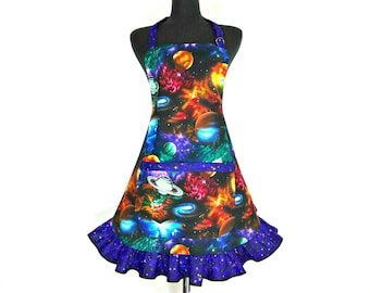 Outer Space Apron for women , Astronomy , Planets , Galaxies, Sci Fi , Geek Girl , Cosmos , Neil deGrasse Tyson inspired Aprons for women