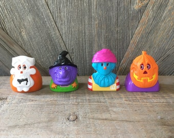 Vintage McDonald's Halloween Happy Meal Toys {Characters with masks} Ronald McDonald 4 piece set!