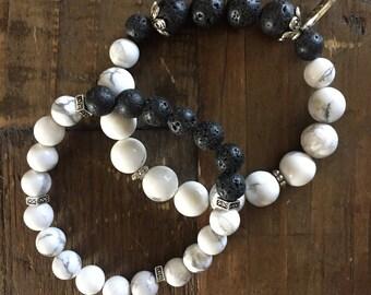 Set of two Howlite Lava stone aromatherapy bracelets
