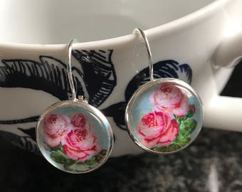 Roses cabochon earrings- 16mm