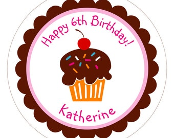 Sweet Cupcake Personalized Birthday Stickers, Labels or Tags