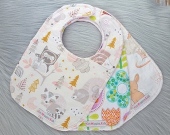 Baby Bibs Set of 3, Baby Girl Bibs, Baby Girl Gift, Baby Shower Gift, New Mums - Woodland Bunnies