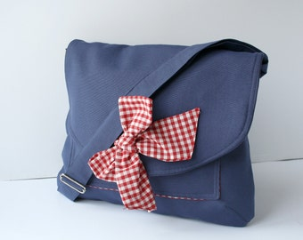 Navy Blue Cotton Fabric Messenger  Bag  Red and White Gingham Bow Adjustable strap
