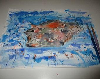 Hippo original watercolour, hippo panting, original watercolour, original painting, original art