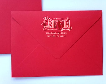 """Customized Hand Lettered Christmas Return Address Rubber Stamp 2"""" x 2"""""""