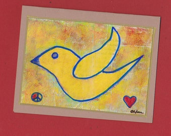 Bird  Note Card Peace and Love Invitation Stationery