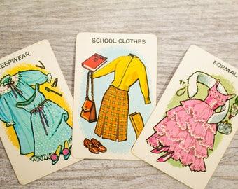 Vintage Mid-Century Cards 1950s Swap Formal School Uniform Clothes Sleepwear Junk Journal