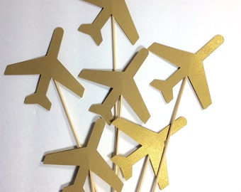 "Shiny gold Airplane Table decor on 12"" skewers, Centerpiece, decorative accessory, birthday decor, baby shower decor, 12 per order"