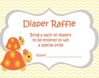 Girl Baby Shower Games - Turtle Baby Shower - Turtle Shower - Turtle Party - Diaper Raffle Ticket - Babyshower Games - Raffle Template 406