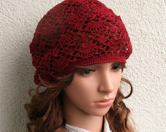 Womens Crochet Summer red bordo boho beret hat slouchy hat Summer beret hat 100% Cotton tams hat Women's Summer hat Women's Slouchy Tam Hat