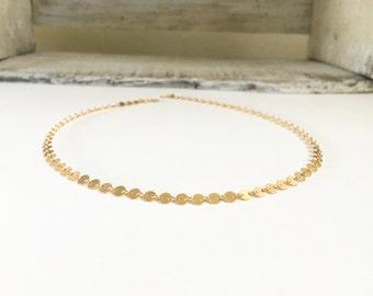 Gold Filled Coin Choker Necklace, Gold Dotted Choker, Sterling Silver Choker Necklace, Coin Tattoo Choker, Sequin Bohemian Disc Choker