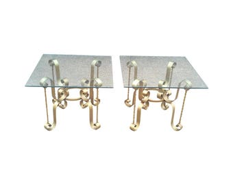 Hollywood Regency Gilded Iron End Tables-A Pair