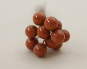 10 balls 5 mm, lampwork headpins, copper, Brown