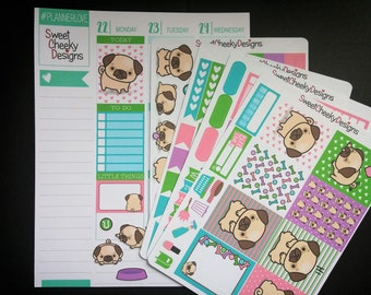 Chato the Pug Weekly Planner Kit!  Available for Erin Condren Life Planner or MAMBI/Happy Planner