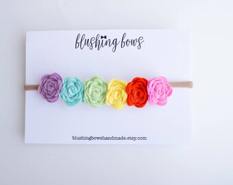 Rainbow Felt Flower Headband, felt flower crown