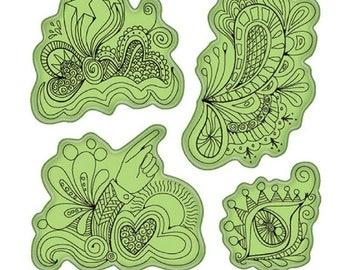 Inkadinkado Stamping Gear Whimsical Doodle Fun Drawing Sketch Cling Rubber Stamp