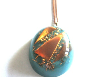 Pendant Necklace Statement Large Blue Copper Encased Lucite 1960s
