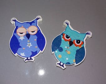 Pair of Mr and Mrs OWL wooden buttons