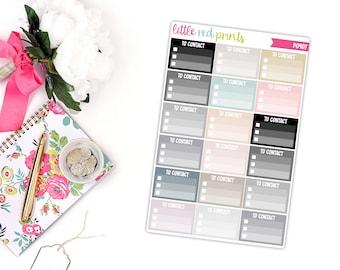 Neutral To Contact Checklist Planner Stickers for the Erin Condren Life Planner, Checklist Sticker - [P0407]