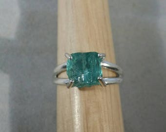 Natural Apatite Crystal Sterling Silver Ring - Size 8