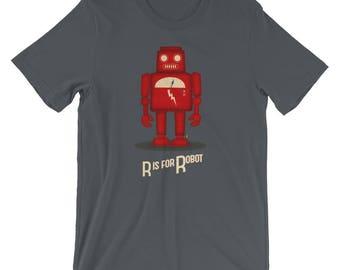 Robot TShirt. Cute Robot Tee, Vintage Robot, Robot Illustration, R Is For Robot, Retro Robot Art, Retro Science TShirt, Vintage Robot Toy