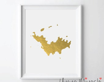 Saint Barthélemy Map Gold Foil Print, Gold Print, Map Custom Print in Gold, Illustration Art Print, Map of St. Barths Gold Foil Print