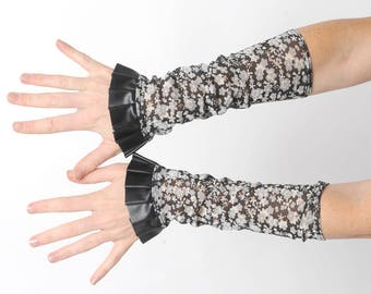 Long floral warmers, Floral mesh cuffs with black pleather ruffle, Gift for her, Womens accessories, MALAM